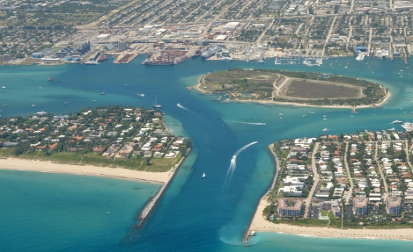 An aereal photograph of Palm Beach, Palm Beach Shores, Peanut Island and, to the rear, the Port of Palm Beach, shows just how many interests have a stake in the Port's plan to dredge. / Courtesy of the Port of Palm Beach